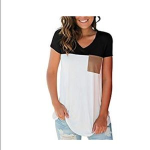 Tops - Black and white V-neck tee with suede pocket